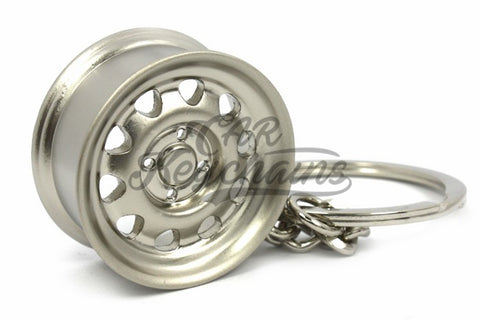 Cerchio Wide Steel Grigio Opaco Matte Grey Portachiavi Keyrings - Car Keychains