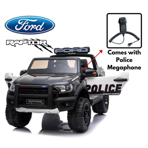*NEW*  Police Ford Raptor  - 2 seater kids ride on car-black