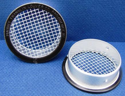 "1.5"" Round Open Screen vent w 1/8"" mesh, black"