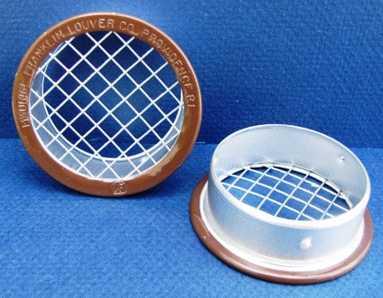 "4"" Round Open Screen Vent w 1/4"" mesh, brown"