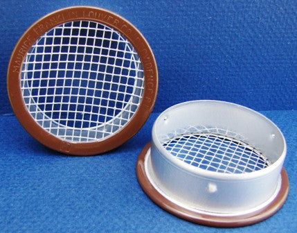 "1.5"" Round Open Screen Vent w 1/8"" mesh, brown"