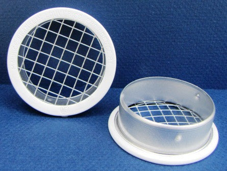 "1.5"" Round Open Screen Vent w 1/4"" mesh, white"