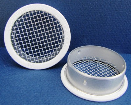 "2.5"" Round Open Screen Vent w 1/8"" mesh, white"