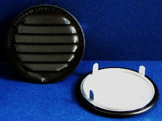 "3"" Round No screen vent - tab style, black"