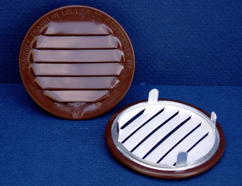 "2.5"" Round No screen vent - tab style, brown"