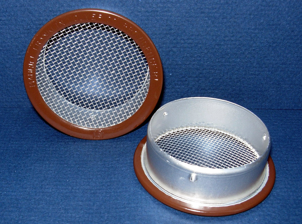 "2.5"" Round Open Screen Vent, brown - bag of 4"