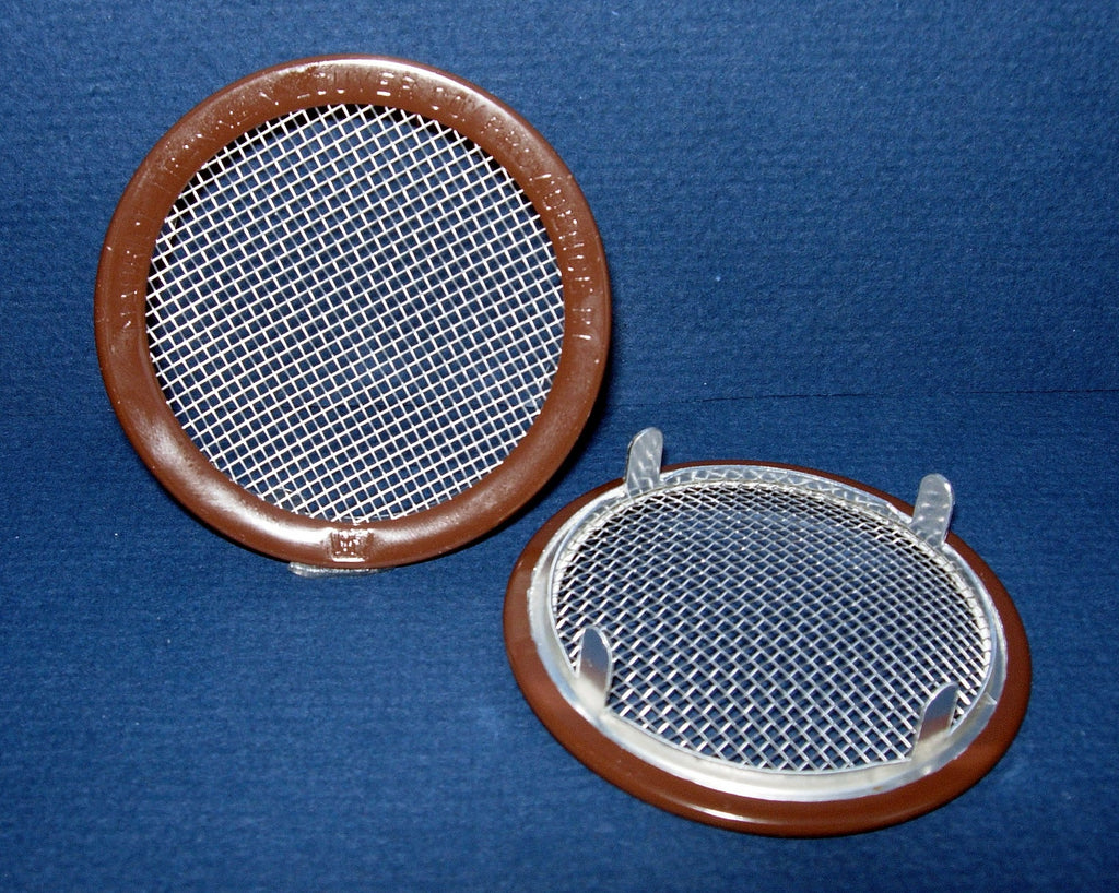 "3"" Round Open Screen Vent - tab style, brown"