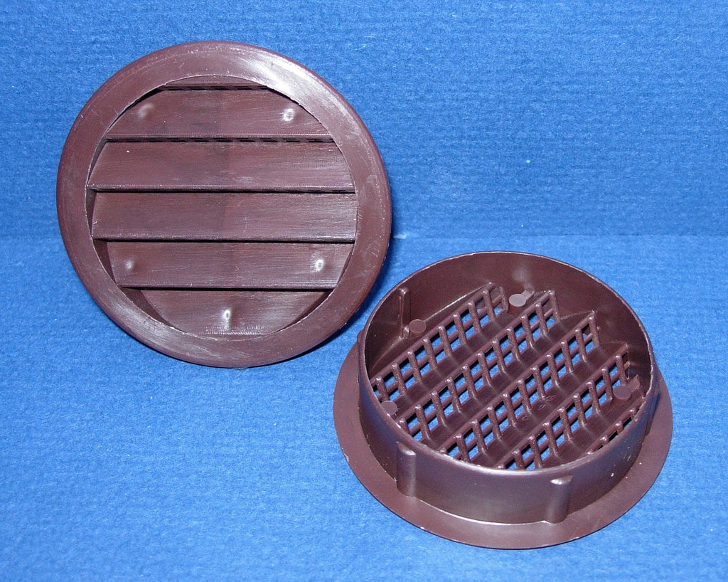 "3"" Round Plastic vent, brown - bag of 4"