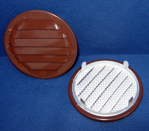 "2.5"" Round Screened Vent - tab style, brown"