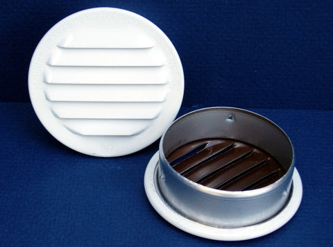 "2.5"" Round No Screen vent, white"
