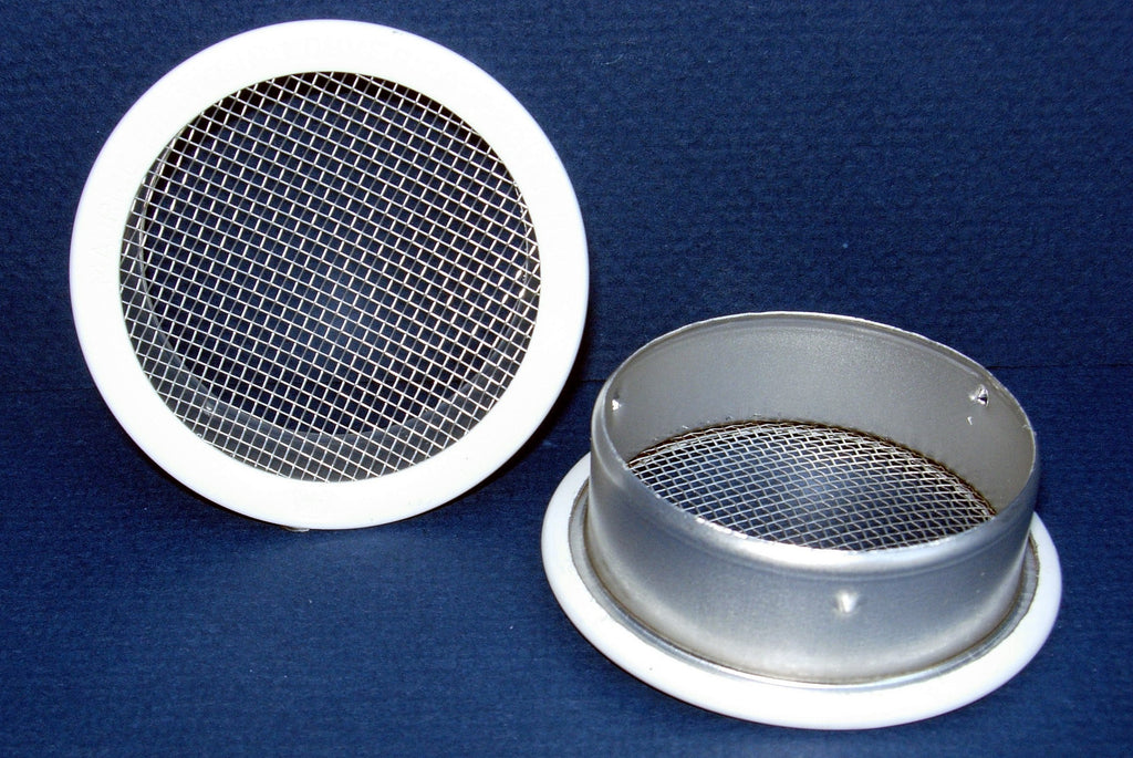 "2.5"" Round Open Screen Vent, white - bag of 4"
