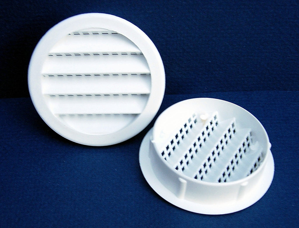 "6"" Round Plastic vent, white - bag of 2"
