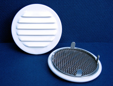 "2"" Round Screened Vent - tab style, white"