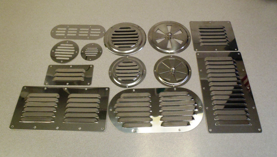 A collection of small stainless steel vents.