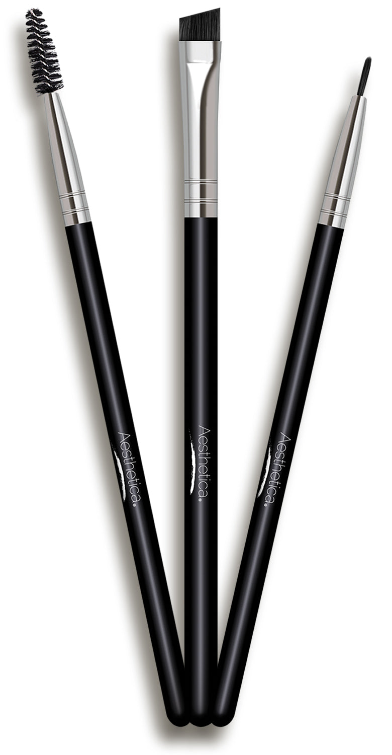 Aesthetica Pro Brush Series: 3-Piece Eyeliner, Brow & Spoolie Brush Set