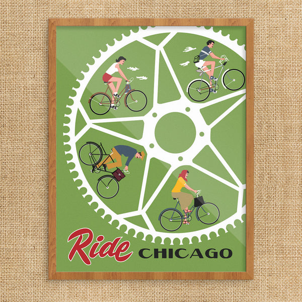 Ride Chicago Bike Wheel 11 x 14 Print