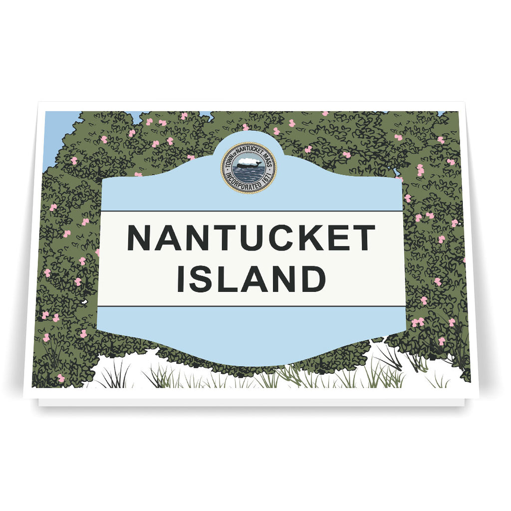 Nantucket Island Classic Sign and Rosa Rugosa Beach Rose 5 x 7 Greeting Card