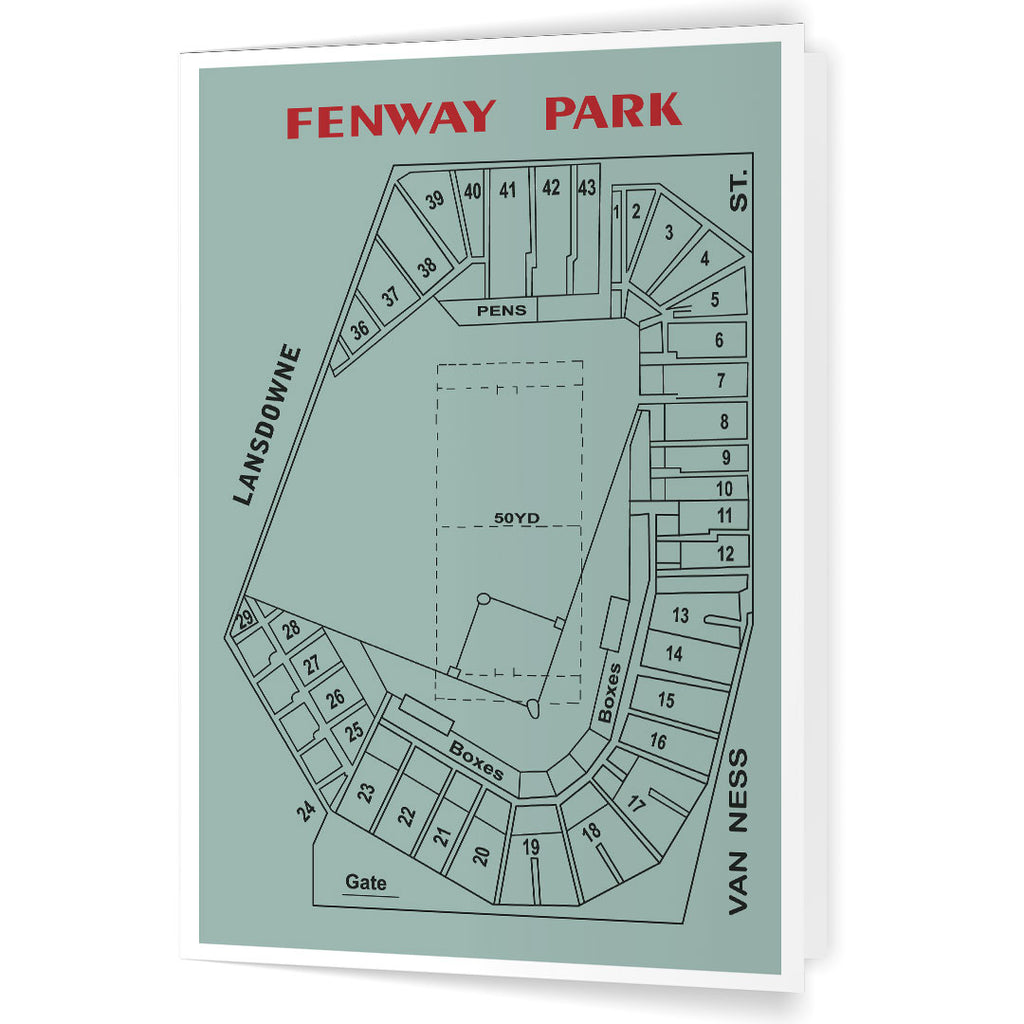 Fenway Park Architectural Layout 5 x 7 Greeting Card