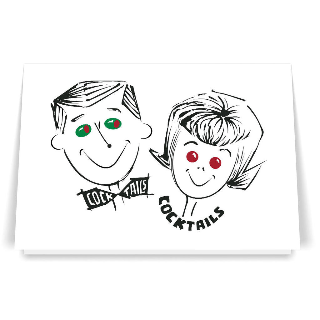 50's Cocktail Couple 5 x 7 Greeting Card