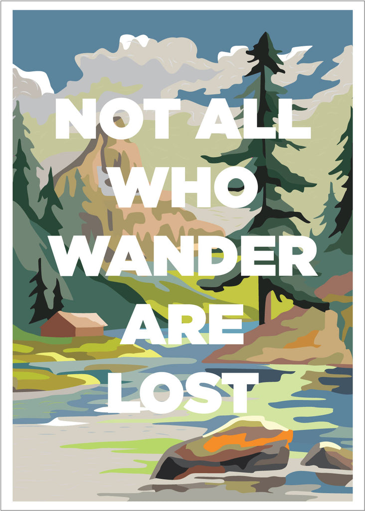 PBN Not All Who Wander Are Lost 5 x 7 Greeting Card