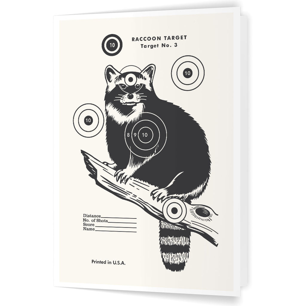 Vintage Raccoon Shooting Target 5 x 7 Greeting Card