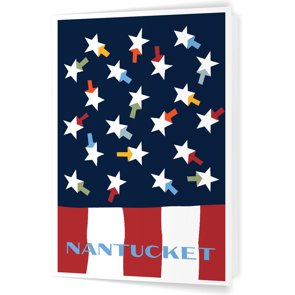 Nantucket Colorful Summer Flag 5 x 7 Greeting Card