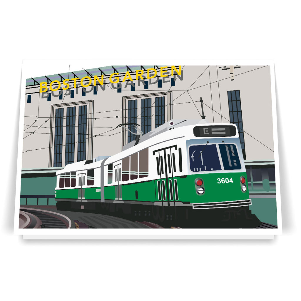 Old Boston Garden & Green Line Train 5 x 7 Greeting Card