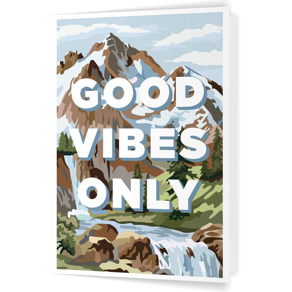 Good Vibes Only Paint By Number Mountain Scene 5 x 7 Greeting Card