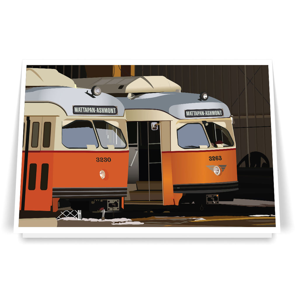 Mattapan-Ashmont High Speed Trolleys in Barn 5 x 7 Greeting Card