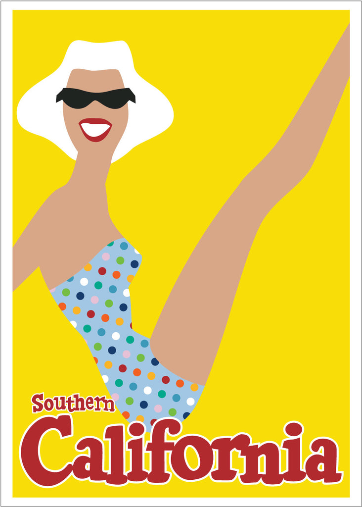 Southern California Sunbather Travel Poster 5 x 7 Greeting Card