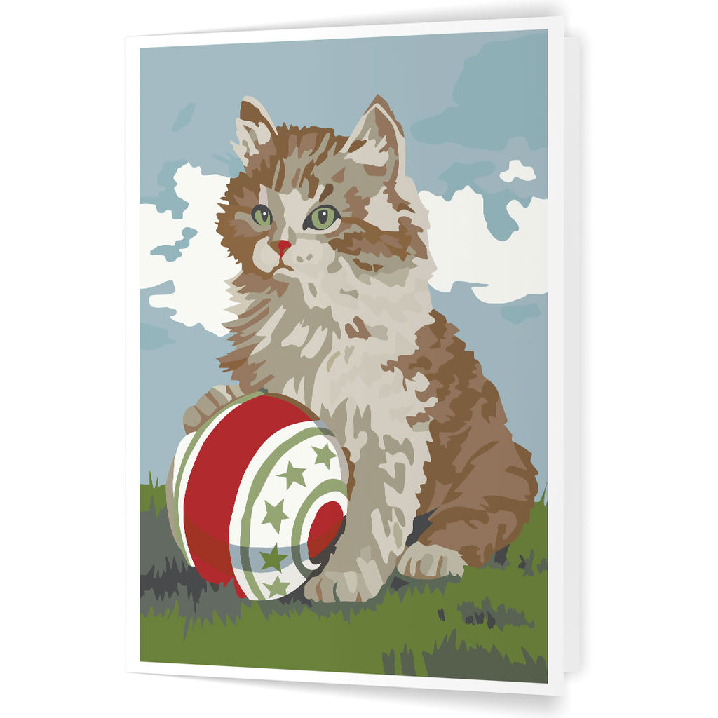 Paint By Number Cat and Ball 5 x 7 Greeting Card