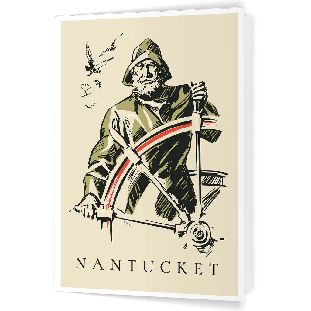 Nantucket Old Whaling Ship Captain 5 x 7 Greeting Card