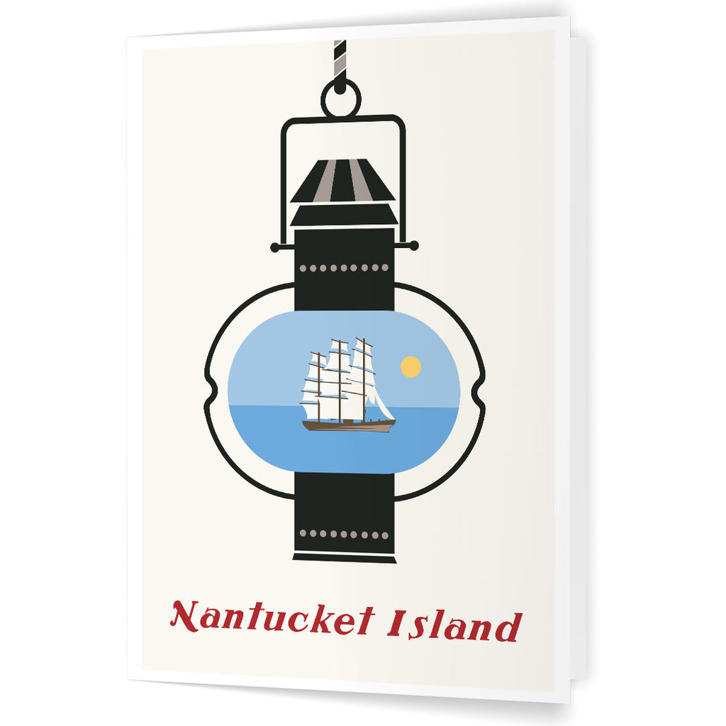 Nantucket Island Lantern and Whaling Ship 5 x 7 Greeting Card