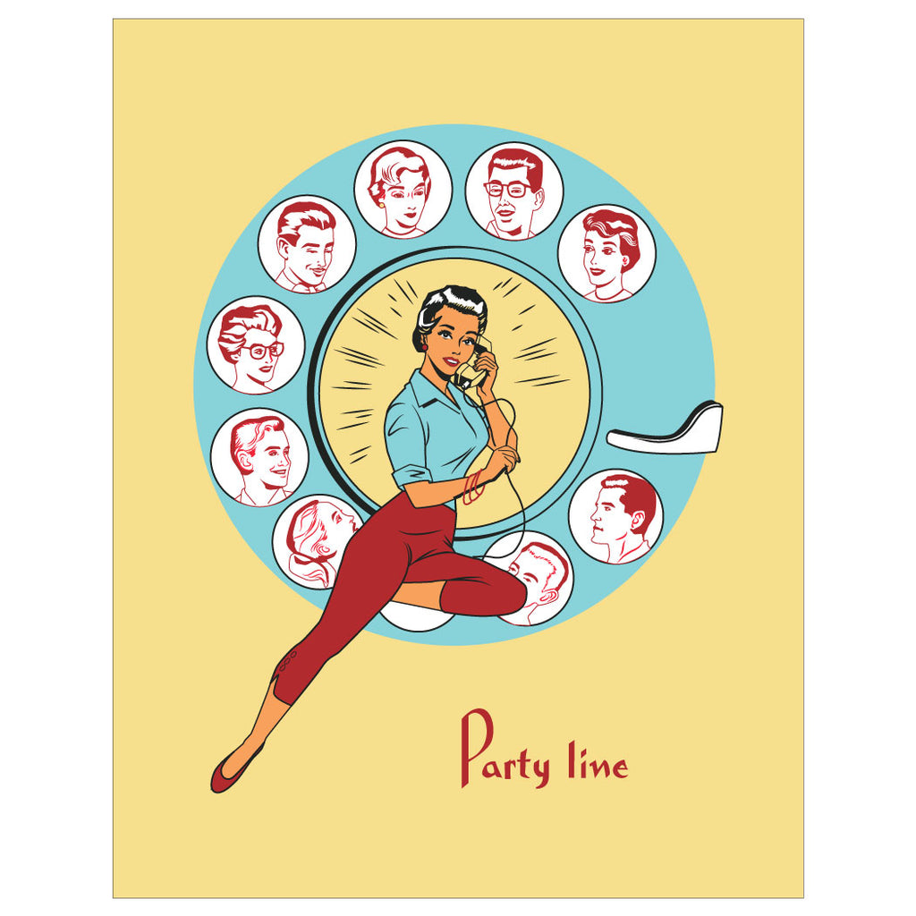 Party Line Vintage Print Magnet & Greeting Card