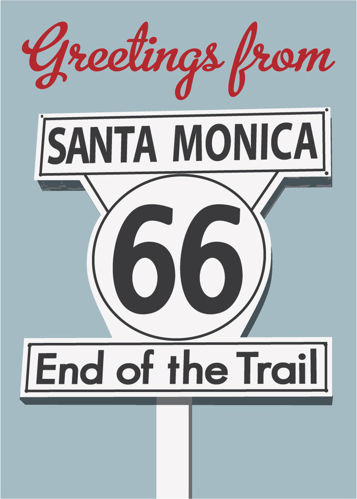 Greetings From RTE 66 Santa Monica End of Trail Magnet