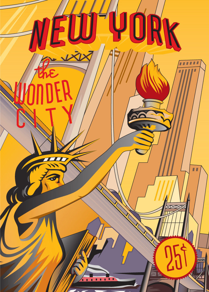 New York The Wonder City Bridges & Sights Print Magnet