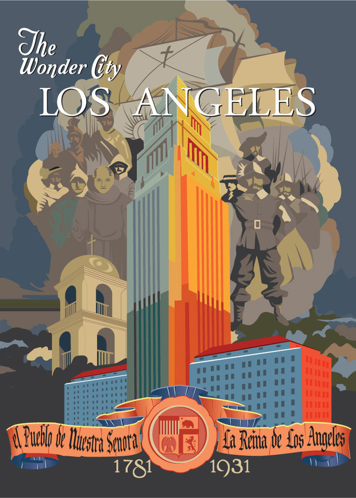Los Angeles The Wonder City Poster Magnet