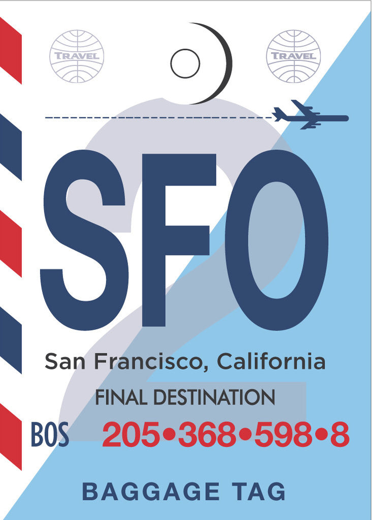 SFO Luggage Tag Poster Magnet