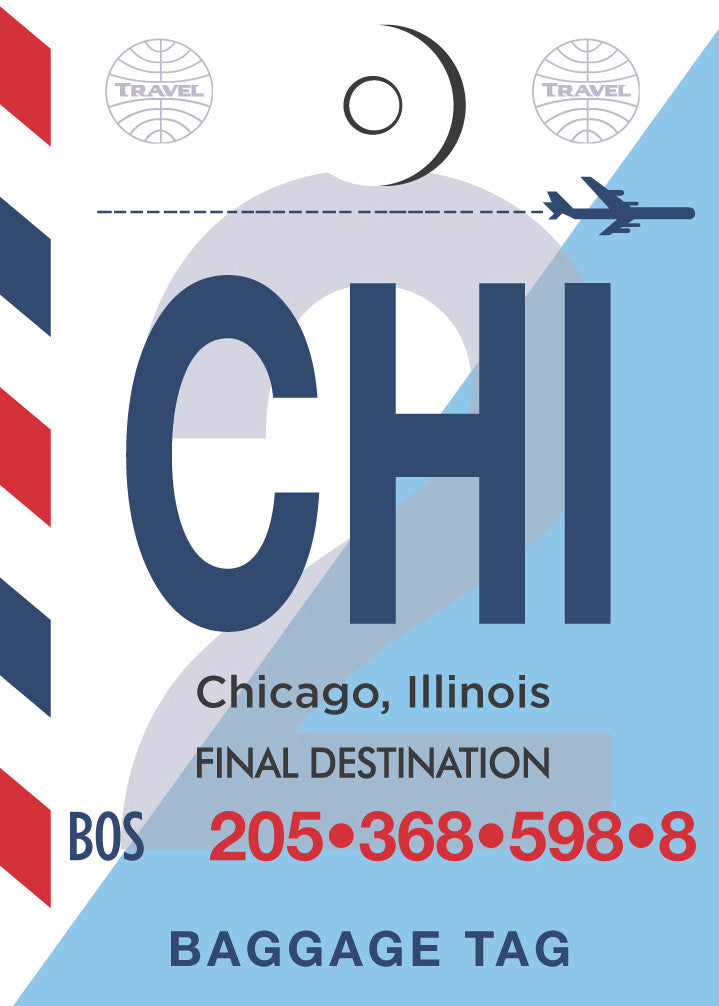 Chicago Striped Luggage Tag Print Magnet