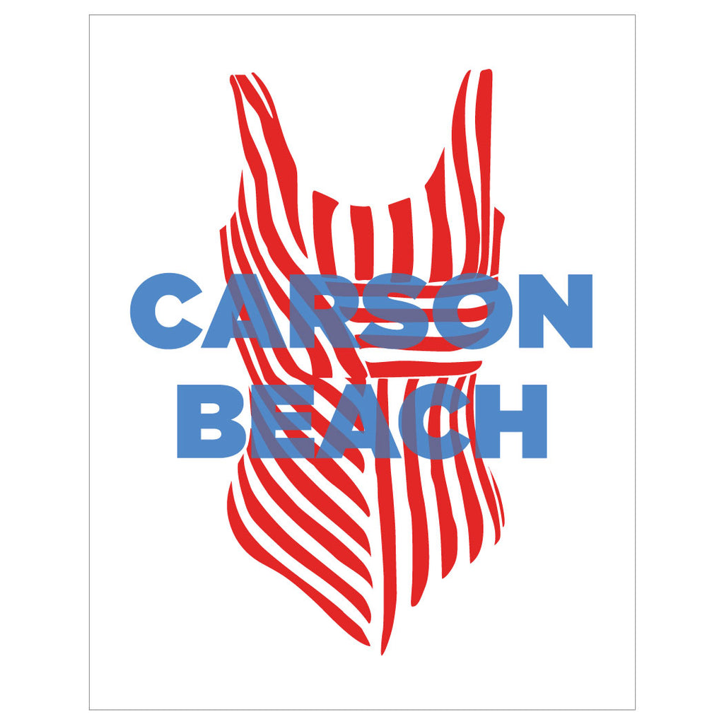 Carson Beach Bathing Suit Magnet & Greeting Card