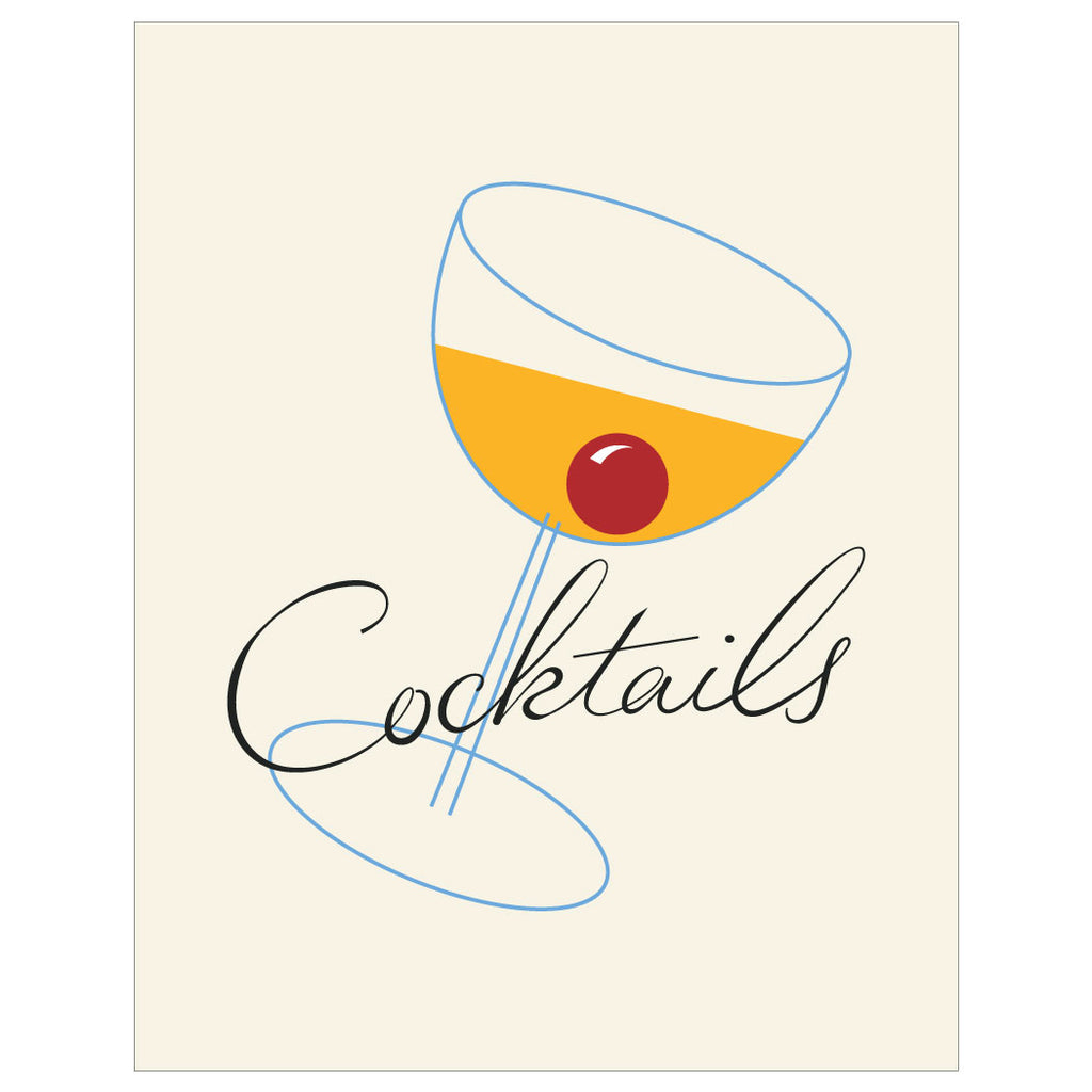 Vintage Cocktails Manhattan Magnet & Greeting Card