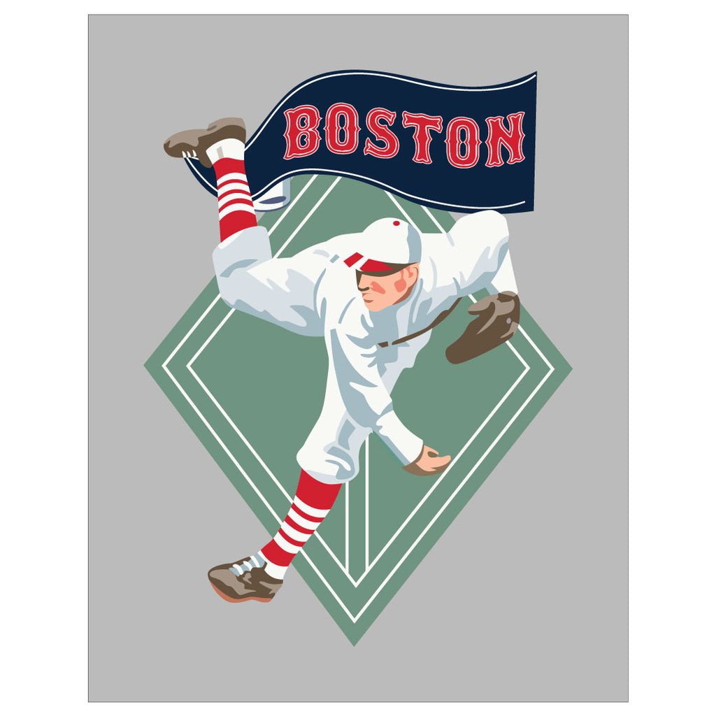 Boston World Champs Baseball Player Magnet & Greeting Card