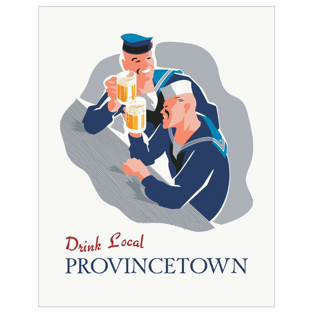 Drink Local Provincetown Drinking Sailors Magnet & Greeting Card