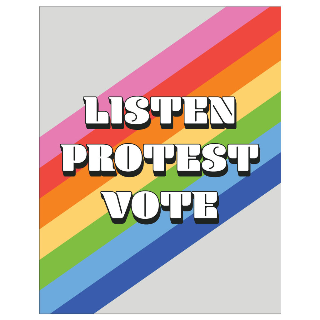 Listen, Protest, Vote Magnet & Greeting Card