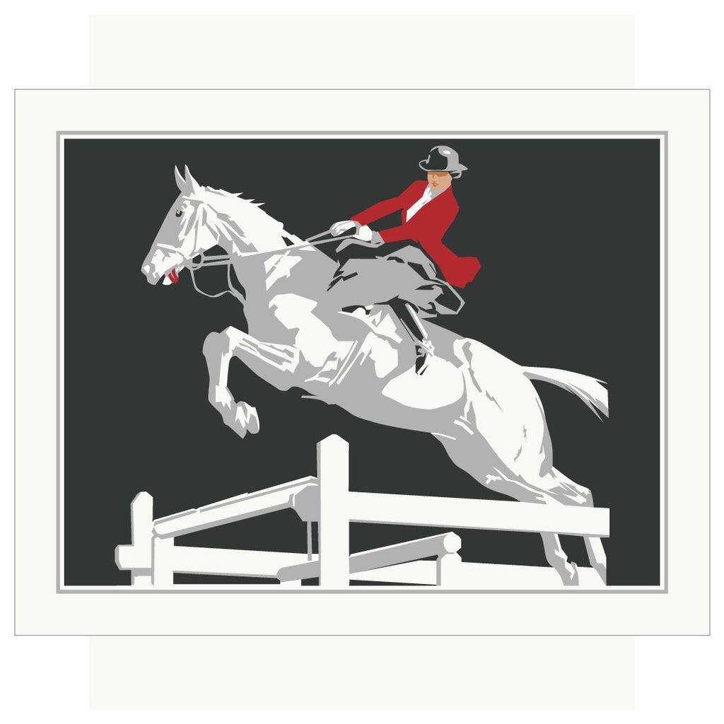 Elegant Horse Jumper Magnet & Greeting Card
