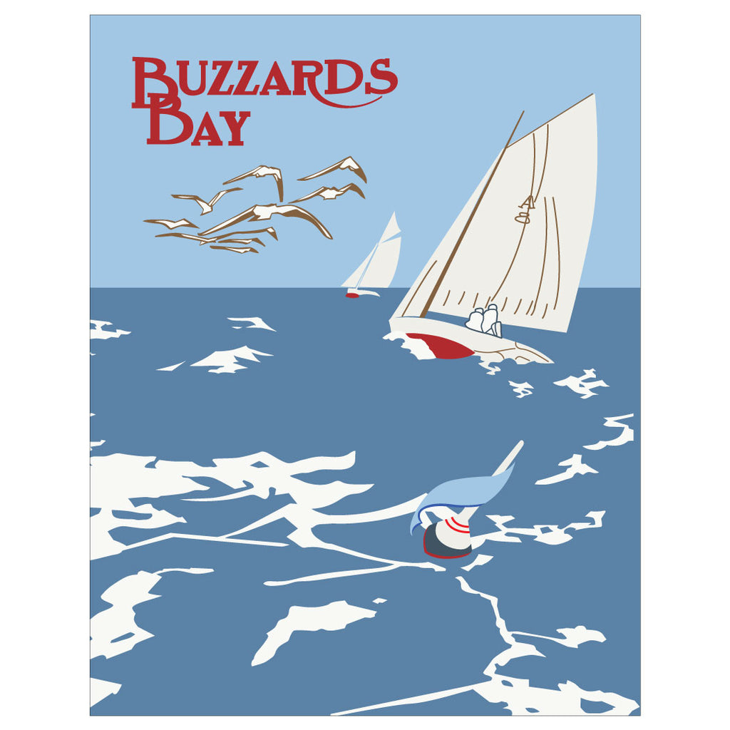 Buzzards Bay Mass Sailboats Magnet & Greeting Card