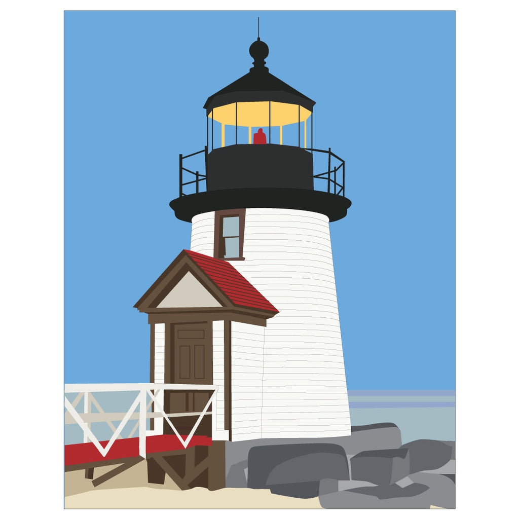 Brant Point Nantucket Lighthouse  Magnet & Greeting Card