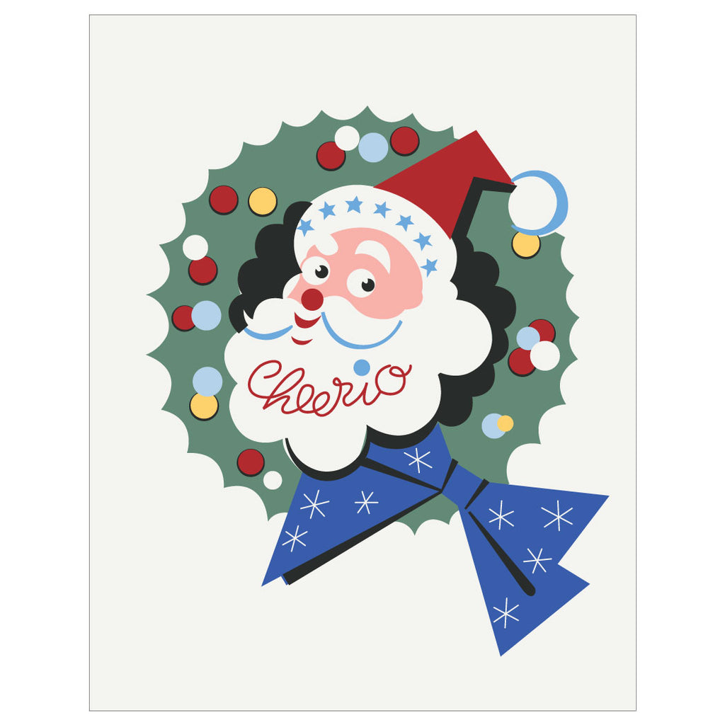 Cheerio Santa & Wreath Christmas Card & Magnet