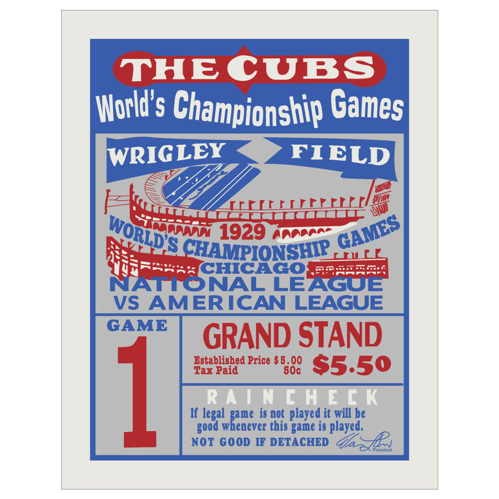 The Cubs 1929 World Series Game 1 Ticket Print & Greeting Card