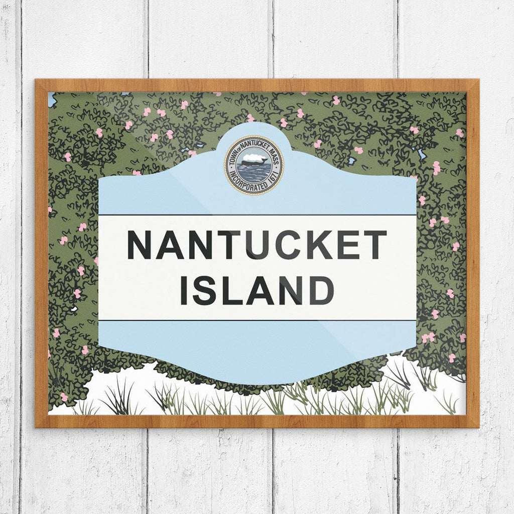 Nantucket Island Classic Sign and Rosa Rugosa Beach Rose Print
